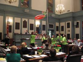 MOEzilla performing in Legislative Hall.