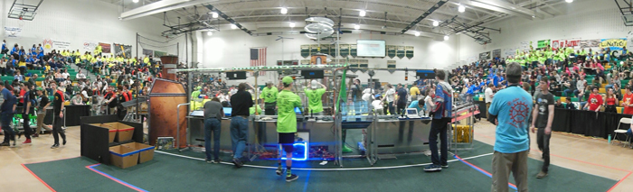 Comp Team setting up for a match